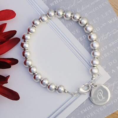 Cathys Concepts Personalized Silver Bead Bracelet