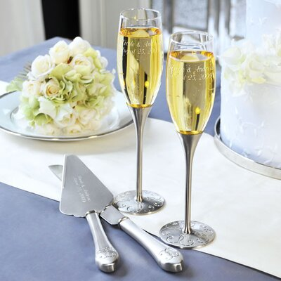 Cathys Concepts Silver Parisian Romance Champagne Flutes and Cake Server Set