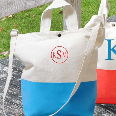 Dipped Tote Bag with Large Single Block Initial