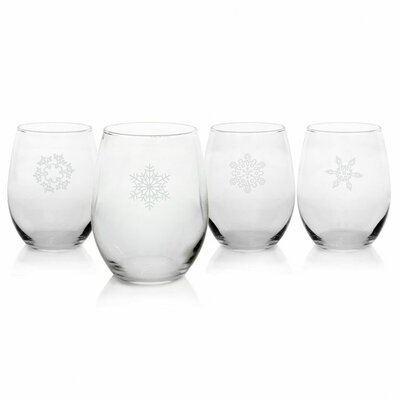 Holiday Stemless White Wine Glass (Set of 4)