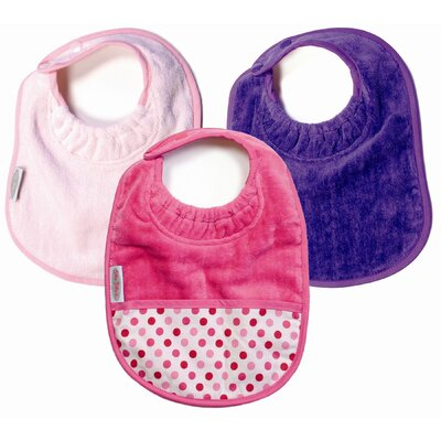 Silly Billyz Girl Bibs 3 Pack in Pale Pink and Purple Plain, and Fuchsia with ...