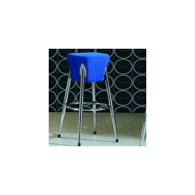 International Design Space Bar Stool with Blue Seat in Chrome