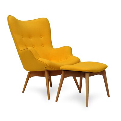 Huggy Mid Century Chair and Ottoman
