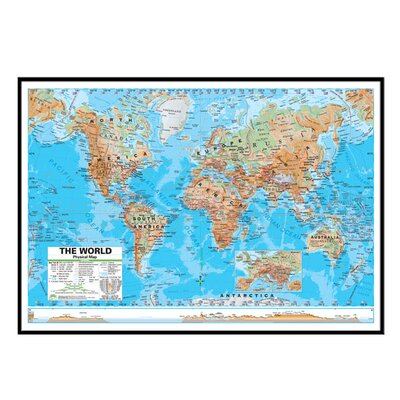 Universal Map World Advanced Physical Mounted Framed Wall Map