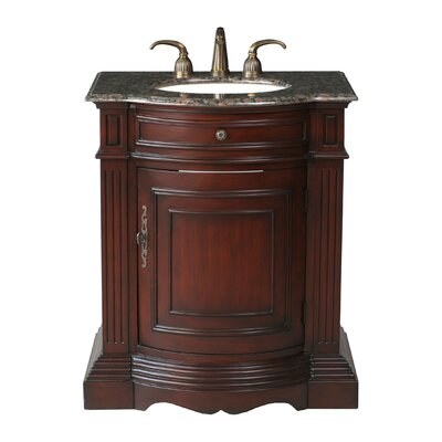 Stufurhome Catherine 30&quot; Single Bathroom Vanity with Baltic Brown Granite Top in Cherry Red