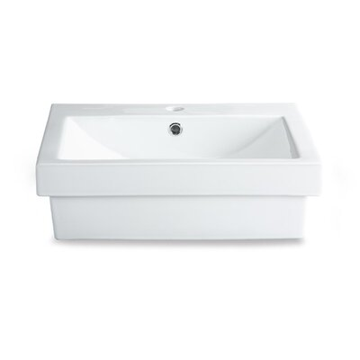 Xylem Semi-Recessed Rectangular Vitreous China Vessel Bathroom Sink