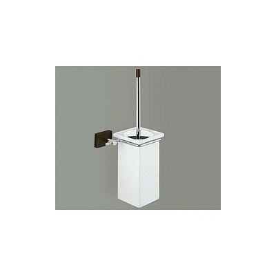 Gedy by Nameeks Minnesota Woods Porcelain Toilet Brush Holder with Espresso Wood Mount