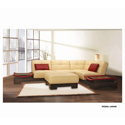 Hokku Designs Lamar Leather Sectional with Ottoman