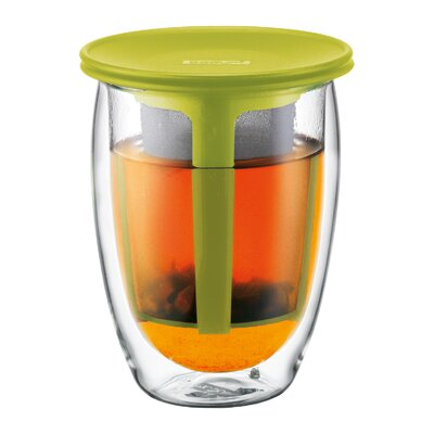 Bodum Tea for One Double Wall Glass with Strainer in Green