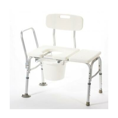 Bathtub Transfer Bench with Cutout and Commode Pail