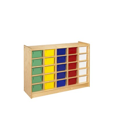 A&E Wood Designs Cubbie Mobile 25 Compartment Tray in Natural