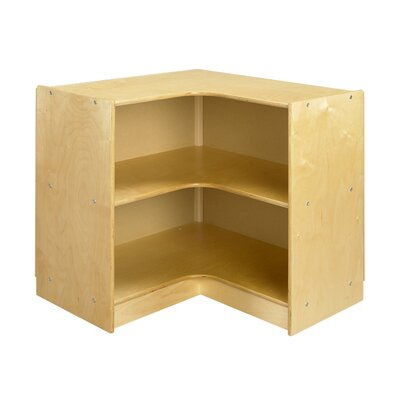 "A&E Wood Designs Cubbie ""L"" Shaped Corner Mobile Storage Unit in Natural"