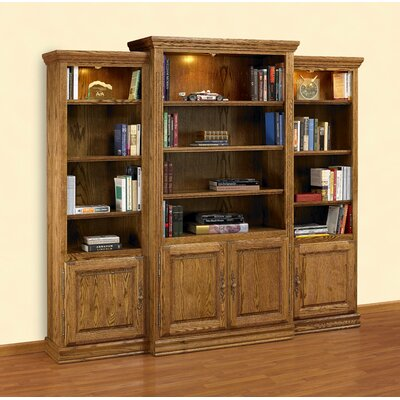 Heirloom Oak 3-Piece Wall Unit & Media Center with Doors & 3 Overhead Brass Spotlights ...