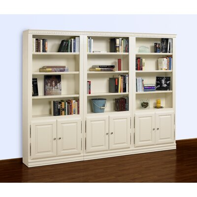 "A&E Wood Designs Hampton 84"" Tall 3-Piece Wall Bookcase with Doors in Pearl White"