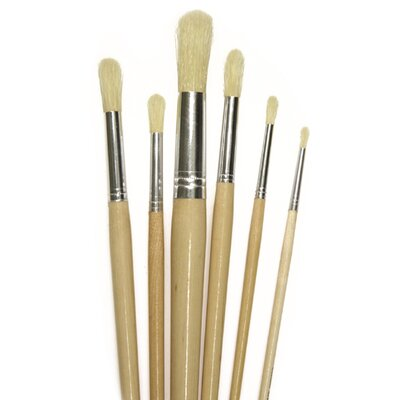 Chenille Kraft Company Round White Bristle Brush 3/8 6-set