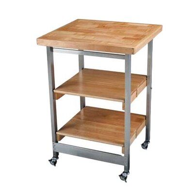 Oasis Concepts All Purpose Folding Kitchen Cart with Wood Top