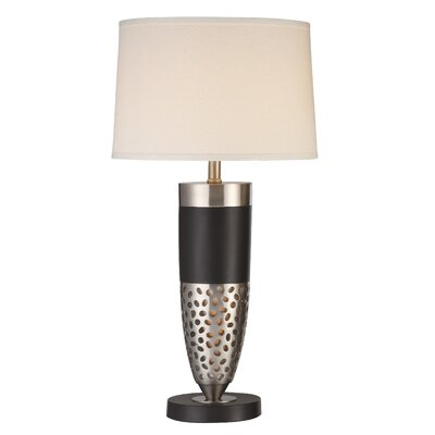 Anthony California Metal Table Lamp with Night Light in Black and Chrome