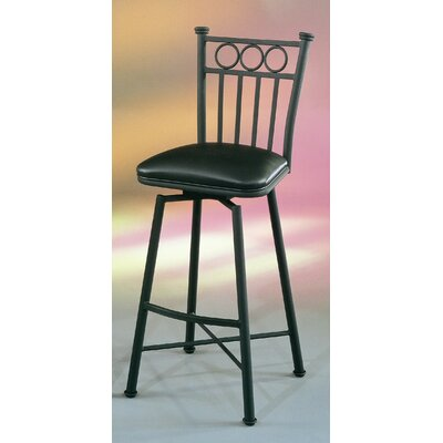 Pastel Furniture Bostonian Swivel Barstool with Touch Black Leather in Matte Black