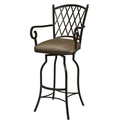 "Pastel Furniture Atrium Rust 26"" Counter Stool w/ Arms in Florentine Coffee Vinyl"