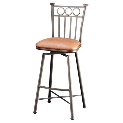 "Pastel Furniture Bostonian Bronze 26"" Swivel Barstool w/ Toast Fabric"