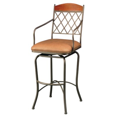 "Pastel Furniture Napa Ridge Bronze 26"" Swivel Counter Stool w/ Arms in Toast Fabric"