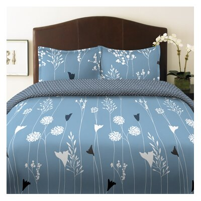 Perry Ellis Asian Lily Comforter Set in Blue