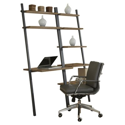 Jesper Office Parson Ladder Five Shelf Bookcase with Writing Desk