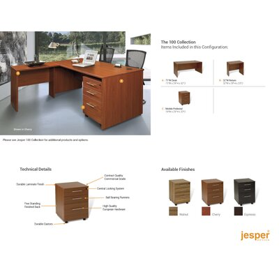 Jesper Office Pro X - L-Shaped Executive Desk with Mobile Pedestal