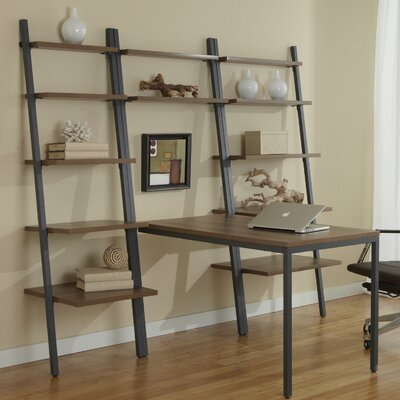 Jesper Office Parson Ladder Five Shelf Bookcase with Peninsula Writing Desk
