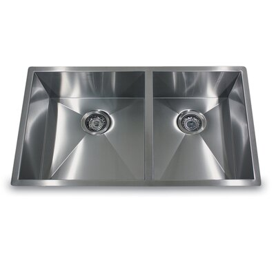 "Nantucket Sinks 32"" x 19"" Double Offset Undermount Kitchen Sink"
