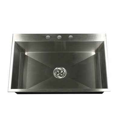 "Nantucket Sinks 33"" x 22"" Self Rimming Single Bowl Kitchen"