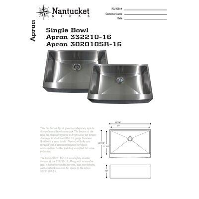"""Nantucket Sinks 33"""" x 21"""" x 10"""" Kitchen Sink"""