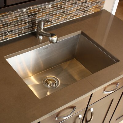 "Nantucket Sinks 28"" x 18"" Zero Radius Large Single Bowl Undermount Kitchen Sink"