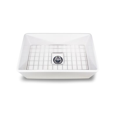 "Nantucket Sinks 30.25"" x 18"" Artisan Fireclay Farmhouse Kitchen Sink with Grid and Drain"