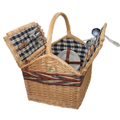 Sutherland Baskets Farmhouse Picnic Basket in Blue Plaid