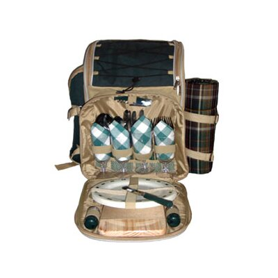 Sutherland Baskets Aztec Picnic Backpack in Green