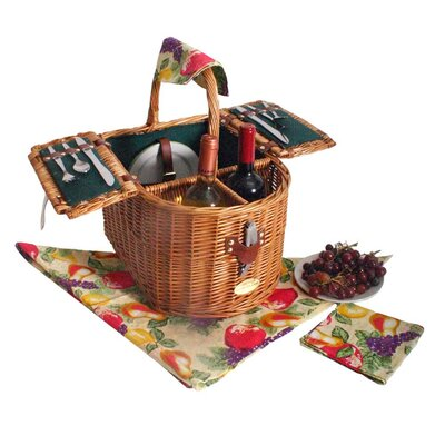 Doppio Vino Picnic Basket in Hunter Green Lining