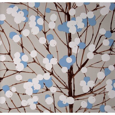 Marimekko Lumimarja Wallpaper in Blue and White by Erja Hirvi