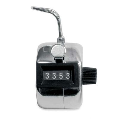 Baumgartens Tally Counter, Count to 9999, Silver/Black