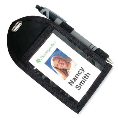 "Baumgartens Badge Holder,w/Pen Loop, Second Pocket, 2-1/4""x3-12"", Black"