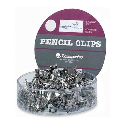 Baumgartens Pencil Clips, For All Standard Size Pencils, 100 per Set, Silver