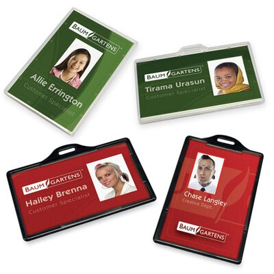 "Baumgartens ID Card Holder,Horizontal,3-3/8""x2-1/8""25/PK,Black"