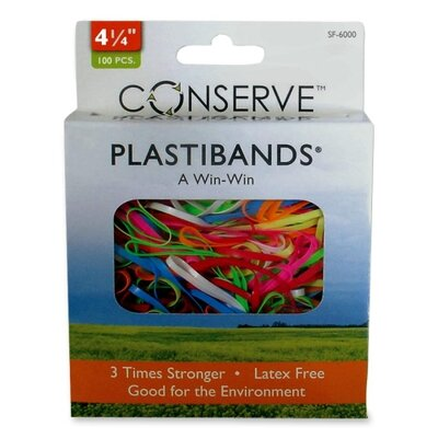 "Baumgartens PlastiBands, Size 4-1/4"", 100/BX, Assorted Colors"