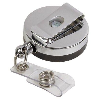 """Baumgartens ID Card Reel, Belt Clip, 30"""", Black/Chrome"""