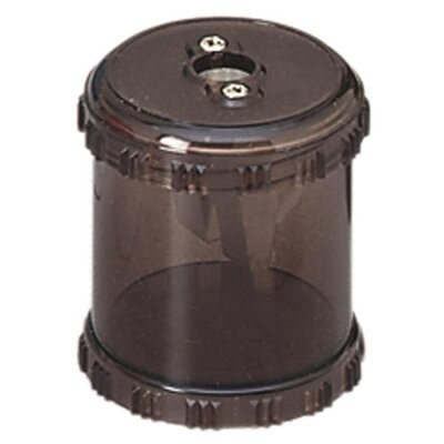 "Baumgartens Plastic Pencil Sharpener W/Receptacle, 1-7/8"" High, Smoke"