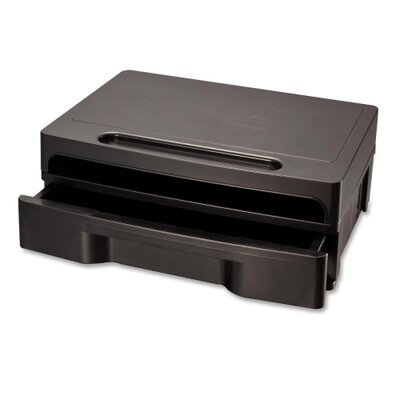 Officemate International Corp Monitor Stand W/Drawer, Removable Divd, 4/CT, Black