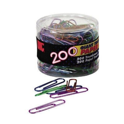 Officemate International Corp Translucent Paper Clips,Vinyl,Giant,200/Tub,BE/PE/GN/RD/SR