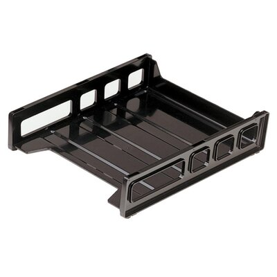 "Officemate International Corp Letter Tray, Front Load, 10-1/2""x12-1/2""x2-7/8"", Smoke/Black"
