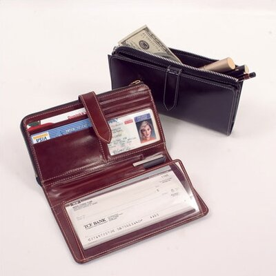 "Winn International High Polished Cowhide Aniline ""Kabul"" Leather Checkbook Wallet"