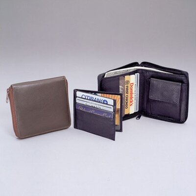 Cowhide Drum-Dyed Nappa Leather Zippered Wallet